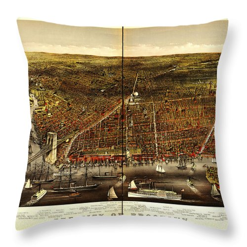 World Throw Pillow featuring the painting Antique Map Of Brooklyn by Celestial Images