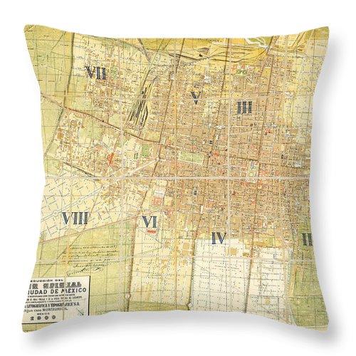 Caribbean Sea Throw Pillow featuring the painting Antique Map Of Del Plano Oficial De La Ciudad De Mexico by Celestial Images