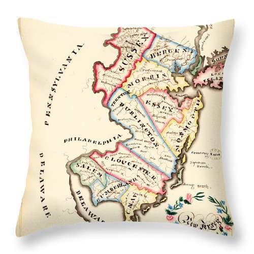 Caribbean Sea Throw Pillow featuring the painting Antique Map Of New Jersey by Celestial Images