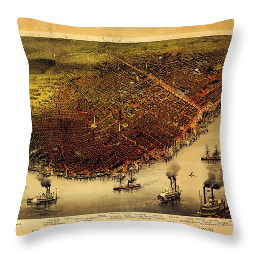 Currier And Ives Throw Pillow featuring the painting Antique Map Of New Orleans by Celestial Images