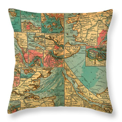 Map Throw Pillow featuring the drawing Antique Map Of The Baltic And North Sea Ports by Mountain Dreams