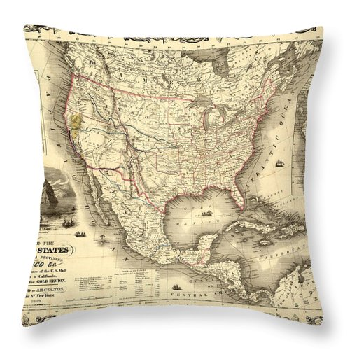 Antique North America Map Throw Pillow featuring the digital art Antique North America Map by Gary Grayson