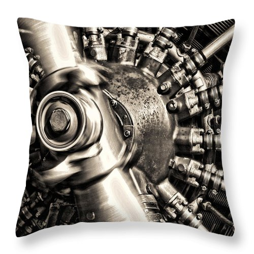 Plane Throw Pillow featuring the photograph Antique Plane Engine by Olivier Le Queinec