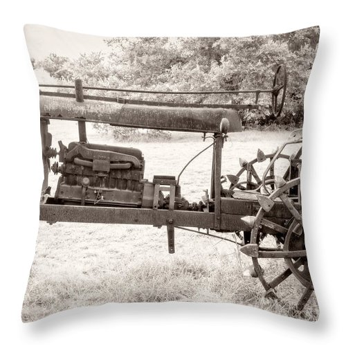 Antique Tractor Throw Pillow featuring the photograph Antique Tractor by Imagery by Charly