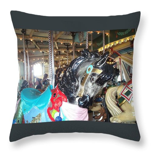 Carousel Restoration Throw Pillow featuring the photograph Antique Waiting by Barbara McDevitt