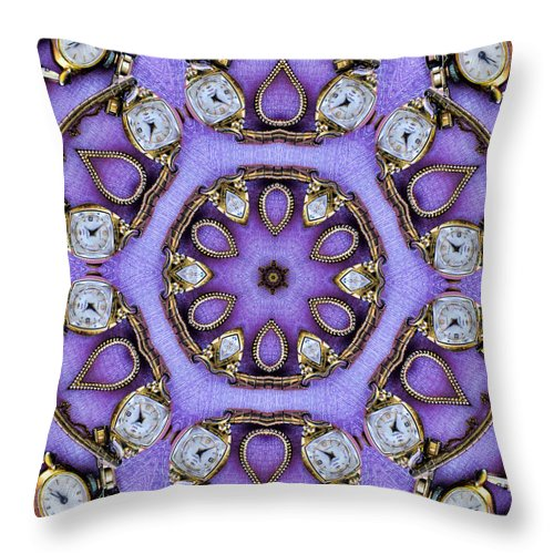Watches Throw Pillow featuring the photograph Antique Watch Kaleidoscope by Kathy Clark