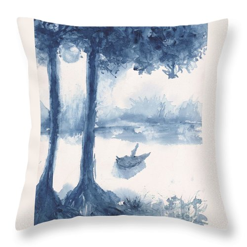 Trees Throw Pillow featuring the painting Antwerp Blue Landscape Watercolor by CheyAnne Sexton