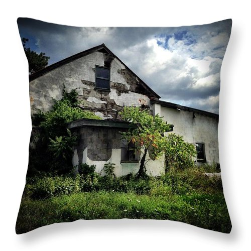 Storm Clouds Over A Decrepit Barn Throw Pillow featuring the photograph Any Shelter In A Storm by Patricia McCoy