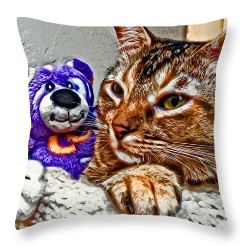 Cat Throw Pillow featuring the photograph Anya And Friend by David G Paul