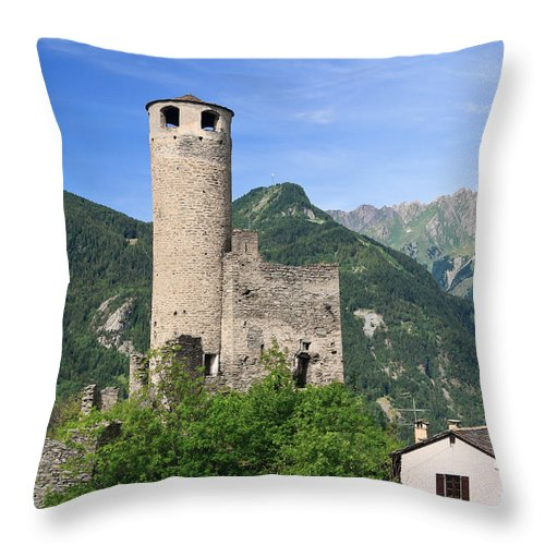 Alps Throw Pillow featuring the photograph Aosta Valley - Chatelard Ruins by Antonio Scarpi