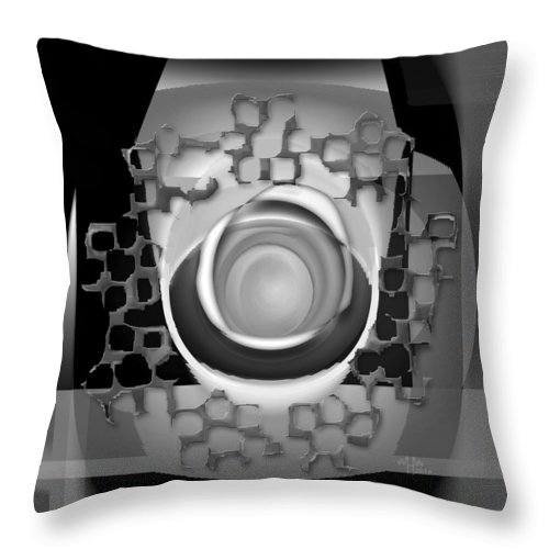 Geometric Abstract Greyscale Throw Pillow featuring the digital art Ap26bw5 by Warren Furman