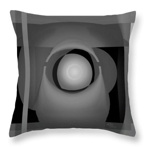 Geometric Abstract Greyscale Throw Pillow featuring the digital art Ap27bw0 by Warren Furman