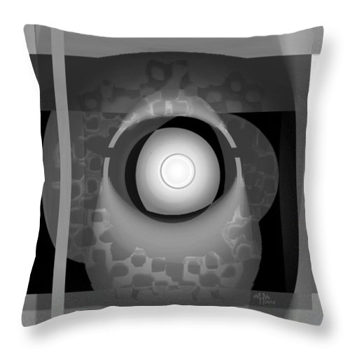 Geometric Abstract Greyscale Throw Pillow featuring the digital art Ap27bw1 by Warren Furman