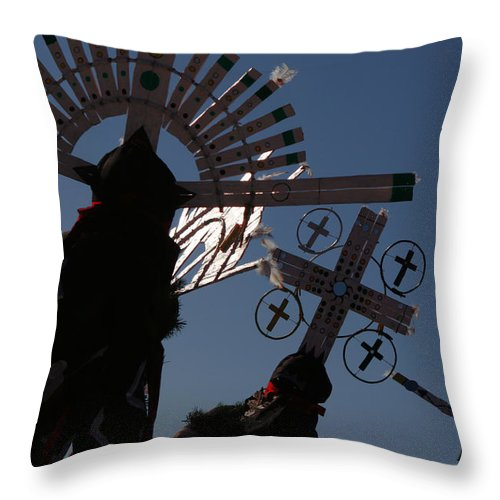 Dance Throw Pillow featuring the photograph Apache Dancers by Joe Kozlowski