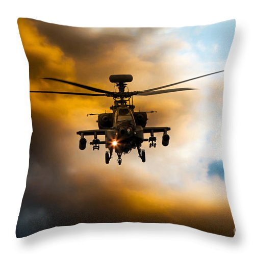 Apache Ah1 Throw Pillow featuring the digital art Apache Hunter by J Biggadike