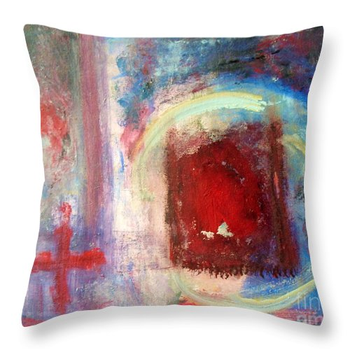 Abstract Throw Pillow featuring the painting Apocolypse by Venus