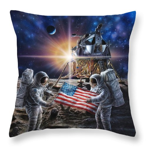 Space Throw Pillow featuring the painting Apollo 11 by Don Dixon