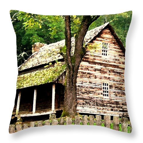Appalachian Throw Pillow featuring the painting Appalachian Cabin by Desiree Paquette