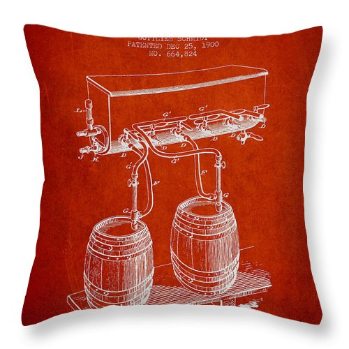 Beer Keg Throw Pillow featuring the digital art Apparatus For Beer Patent From 1900 - Red by Aged Pixel