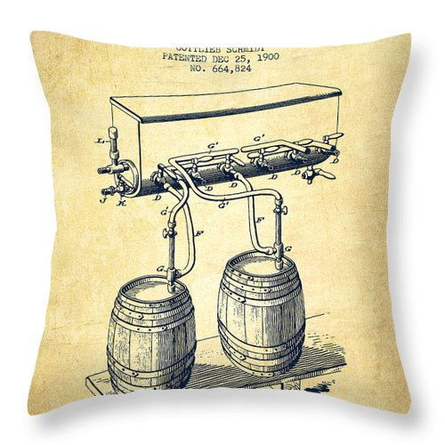 Beer Keg Throw Pillow featuring the digital art Apparatus For Beer Patent From 1900 - Vintage by Aged Pixel