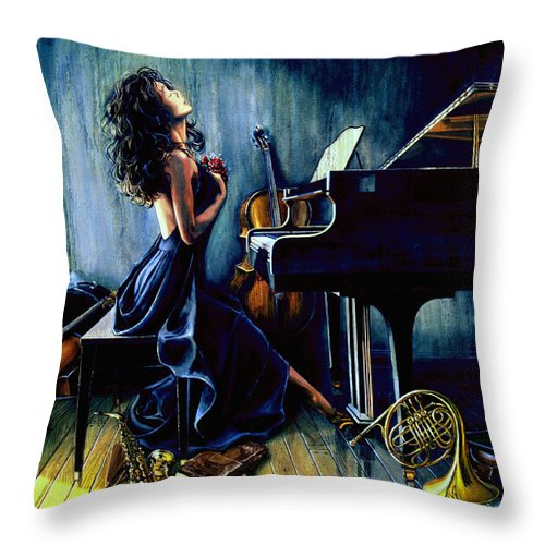 Musical Instrument Still Life Throw Pillow featuring the painting Appassionato by Hanne Lore Koehler