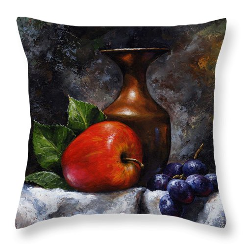 Fruit Painting Throw Pillow featuring the painting Apple And Grapes by Emerico Imre Toth