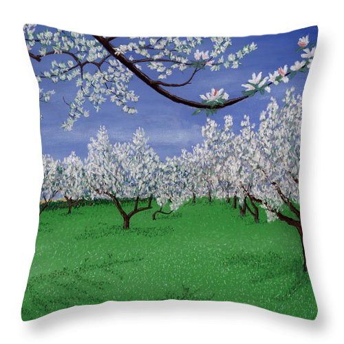 Apple Blossoms Throw Pillow featuring the pastel Apple Blossoms by George Burr