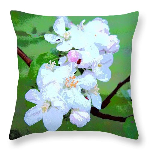Apple Blossoms In The Spring Throw Pillow featuring the photograph Apple Blossoms In The Spring - Painting Like by James Scott Preston