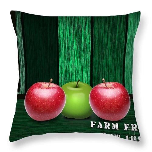 Apple Photographs Mixed Media Mixed Media Throw Pillow featuring the mixed media Apple Farm by Marvin Blaine