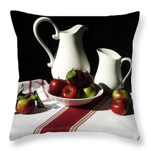 Still Life Throw Pillow featuring the photograph Apple Season One by Michelle Welles