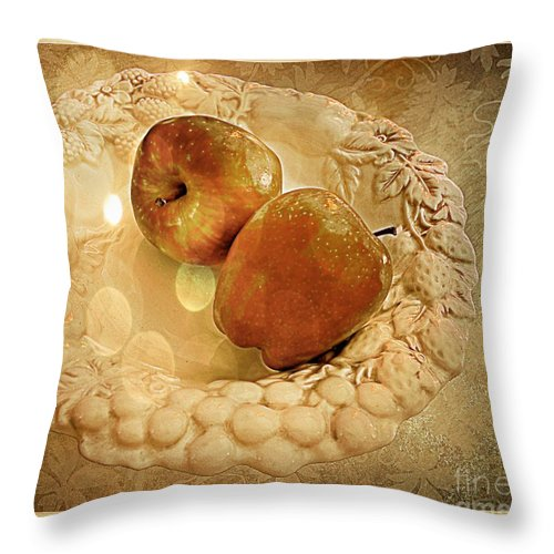 White Throw Pillow featuring the photograph Apple Still Life 4 by Debbie Portwood