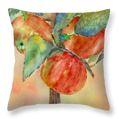 Apple Throw Pillow featuring the painting Apple Tree by Patricia Novack