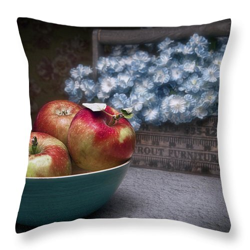 Apple Throw Pillow featuring the photograph Apples And Flower Basket Still Life by Tom Mc Nemar