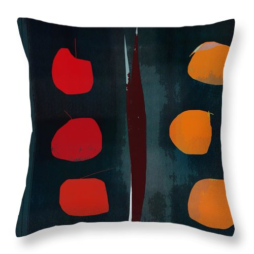 Abstract Throw Pillow featuring the digital art Apples And Oranges by John Allen