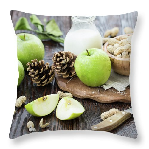 Breakfast Throw Pillow featuring the photograph Apples And Peanuts For Breakfast by Julia Khusainova