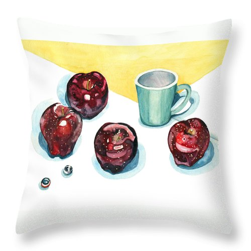 Apples Throw Pillow featuring the painting Apples by Katherine Miller