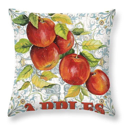 Painting Throw Pillow featuring the painting Apples On Damask by Jean Plout