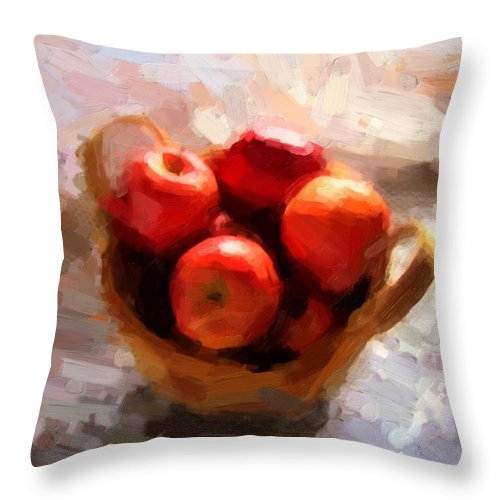 Apples Throw Pillow featuring the photograph Apples On The Table by Shannon Story