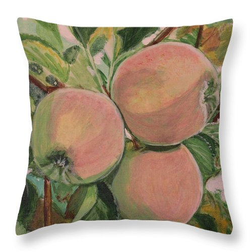 Apple Throw Pillow featuring the painting Apples by Vera Lysenko