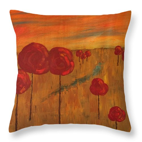 Wright Throw Pillow featuring the painting Appletrees by Paulette B Wright