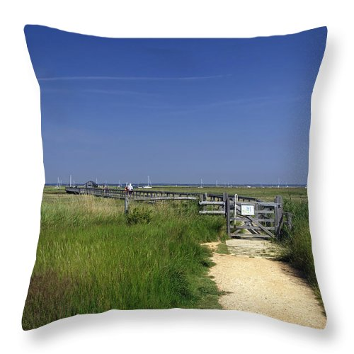 Britain Throw Pillow featuring the photograph Approach To The Wooden Bridge - Newtown by Rod Johnson