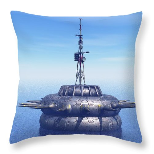 Digital Art Throw Pillow featuring the digital art Approach With Extreme Caution by Michael Wimer
