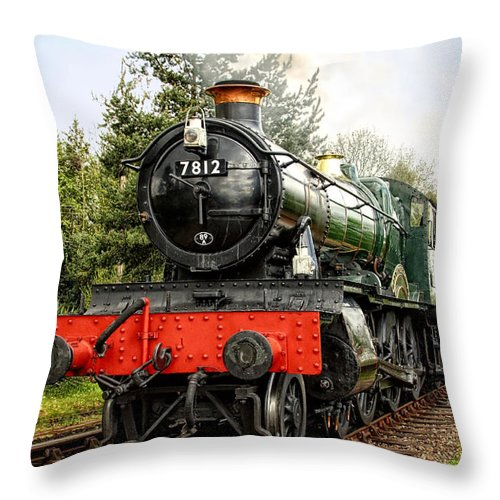 Steam Trains Throw Pillow featuring the photograph Gwr Erlestoke Manor by Paul Williams
