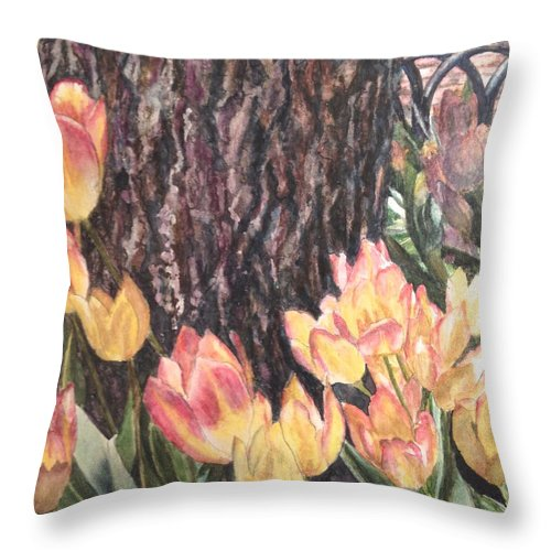 Flowers Throw Pillow featuring the painting April On Pearl St by Carol Warner
