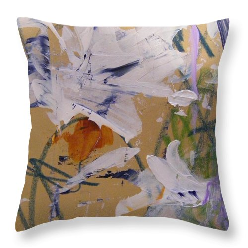 Imaginary Flowers. Acrylic Abstract Painting Throw Pillow featuring the painting April Showers 1 by Nancy Kane Chapman