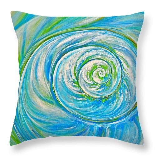 Blue Throw Pillow featuring the painting Aqua Seashell by Paola Correa de Albury