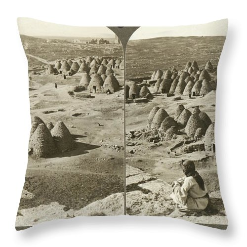 1900 Throw Pillow featuring the photograph Arab Bee Hive Village by Underwood & Underwood