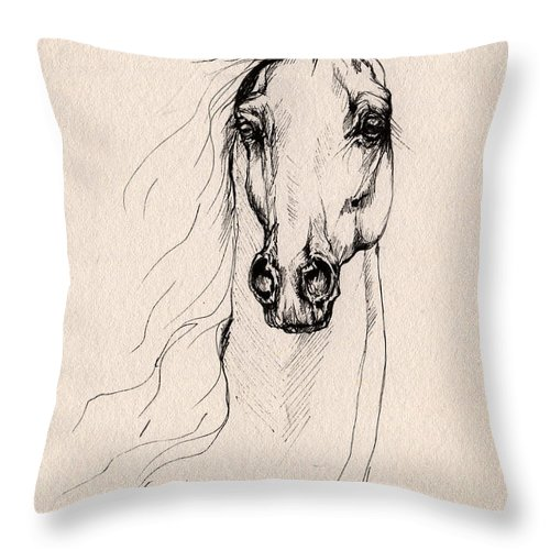 Horse Throw Pillow featuring the drawing Arabian Horse Drawing 25 by Angel Ciesniarska