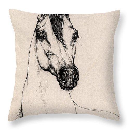 Arabian Horse Throw Pillow featuring the drawing Arabian Horse Drawing 29 by Angel Ciesniarska