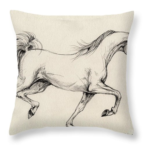 Grey Throw Pillow featuring the drawing Arabian Horse Drawing 31 by Angel Ciesniarska